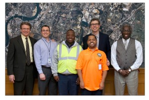 From left to right: Kyle Hauth, CEO, Orange Grove Center; Adam Welsh, job developer; Anthony Sheppard, Intern; Clayton Beal, Intern; Mayor Andy Berke; and Employment Services Coordinator, O'Dell Tiller.